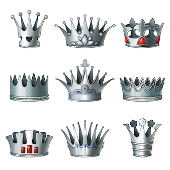 Kreskówka zestaw srebrnych koron królewskich