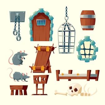 Kreskówka zestaw średniowiecznego więzienia, obiekty tortur - stojak, szekle i metalowe wiszące klatki.