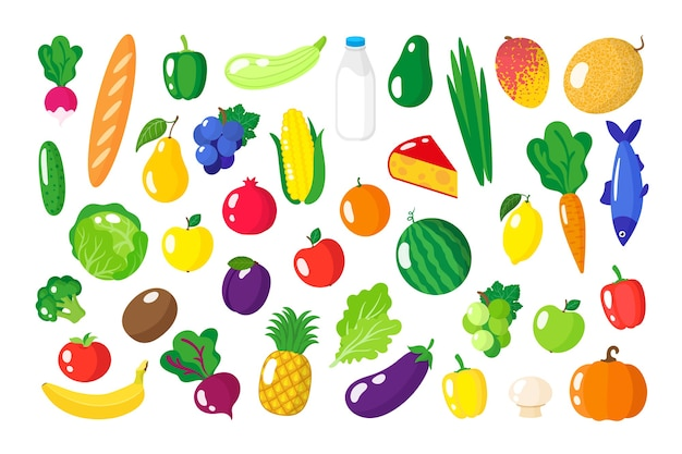 Kreskówka zestaw świeżej zdrowej żywności ekologicznej, warzyw i owoców na białym tle.