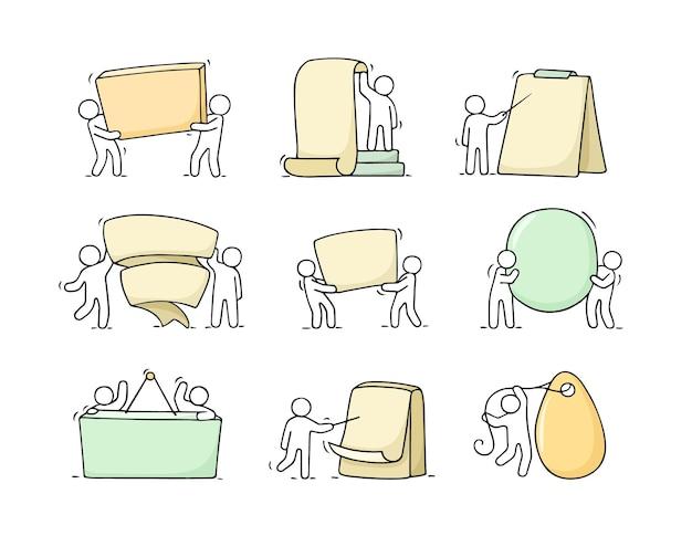 Kreskówka zestaw szkic małych ludzi z pustymi przestrzeniami. doodle słodkie pracowników. ręcznie rysowane