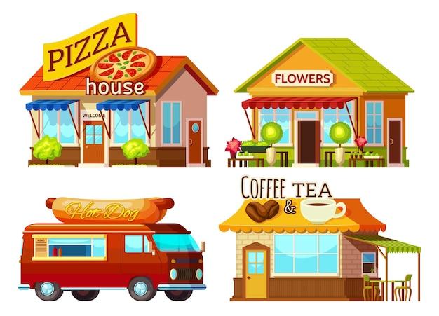 Kreskówka zestaw witryn sklepowych