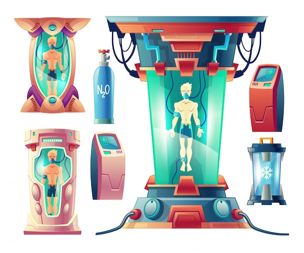 Kreskówka zestaw z futurystycznym sprzętem do hibernacji, kamery kriogeniczne ze śpiącymi ludźmi