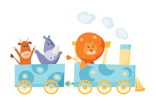 Kreskówka zestaw z różnymi zwierzętami w pociągach. lis żyrafa małpa słoń niedźwiedź świnie królik tygrys behemot papuga. płaskie elementy pocztówki, książki lub druku