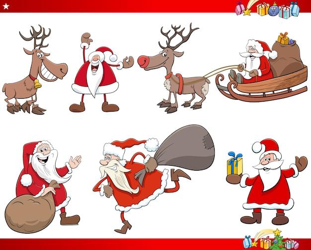 Kreskówka zestaw znaków świąt bożego narodzenia świętego mikołaja