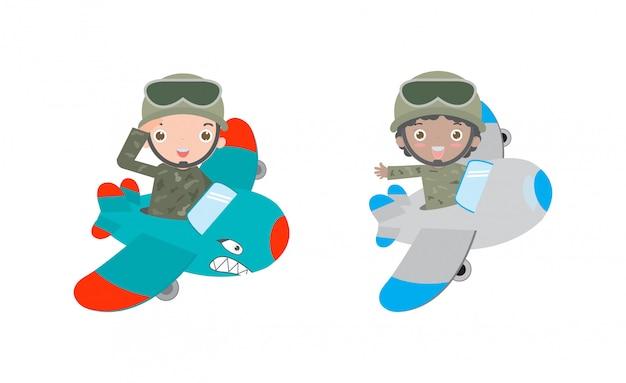 Kreskówka zestaw żołnierz, dzieci w strojach żołnierzy, jazda samolotem płaski projekt postać z kreskówki na białym tle, armia amerykańska, żołnierze samolotów ilustracja na białym tle
