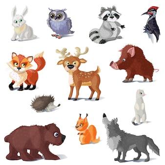 Kreskówka zestaw zwierząt leśnych