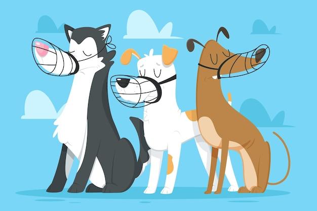 Kreskówka zestaw zwierząt w kagańcu