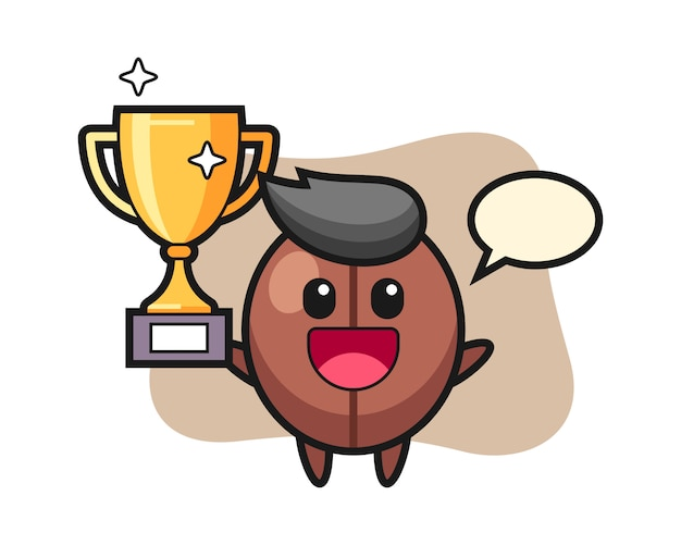 Kreskówka ziarna kawy szczęśliwy trzyma złote trofeum