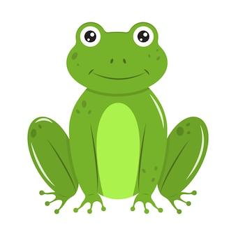 Kreskówka zielona żaba. element projektu. ilustracja wektorowa na białym tle.