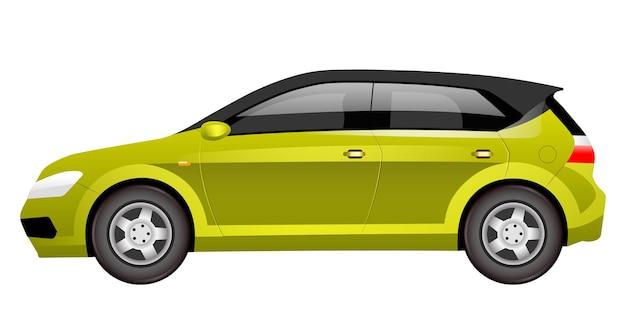 Kreskówka zielony hatchback.