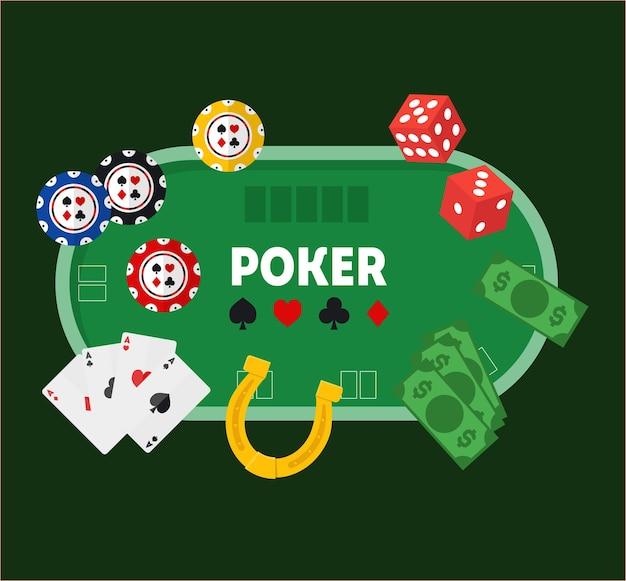Kreskówka zielony pokera stół kasyno na zielony styl gry hazardowej gry płaska konstrukcja. ilustracja wektorowa