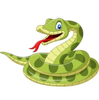 Kreskówka zielony wąż odizolowywający