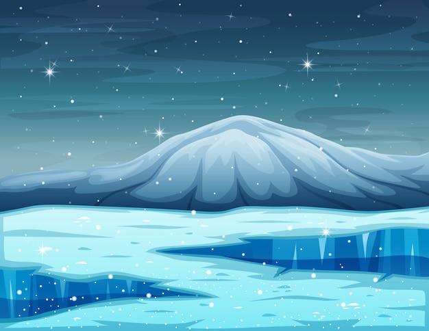 Kreskówka zimowy krajobraz z górskim i zamarzniętym jeziorem