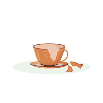 Kreskówka złamany kubek. pęknięta filiżanka, potłuczone naczynia o płaskim kolorze. tradycyjny przesąd, znak powodzenia. rozbity kubek ceramiczny na białym tle