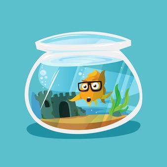 Kreskówka złota rybka w okrągłym zbiorniku