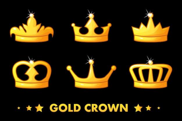 Kreskówka złote ikony korony