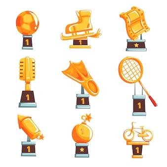 Kreskówka złote trofeum puchary, nagrody i osiągnięcia zestaw ilustracji