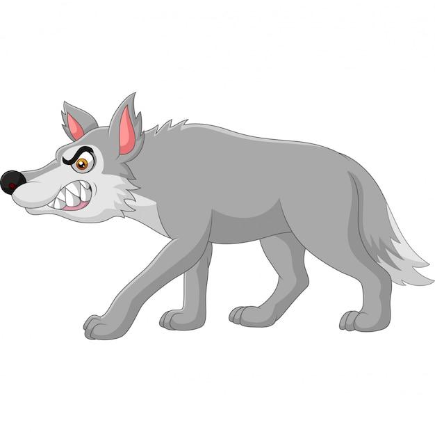 Kreskówka zły wilk na białym tle