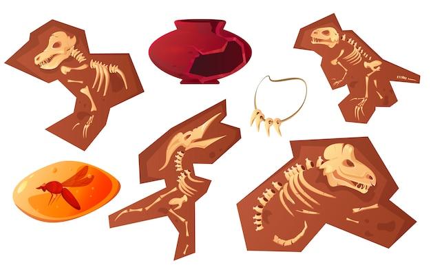 Kreskówka znaleziska archeologiczne i paleontologiczne