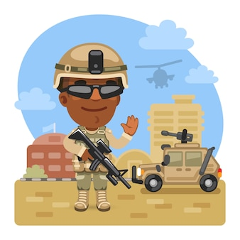 Kreskówka żołnierz w bazie wojskowej