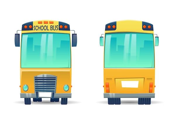 Kreskówka żółty autobus szkolny dla uczniów