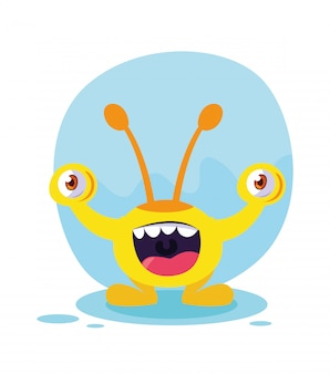 Kreskówka żółty potwór