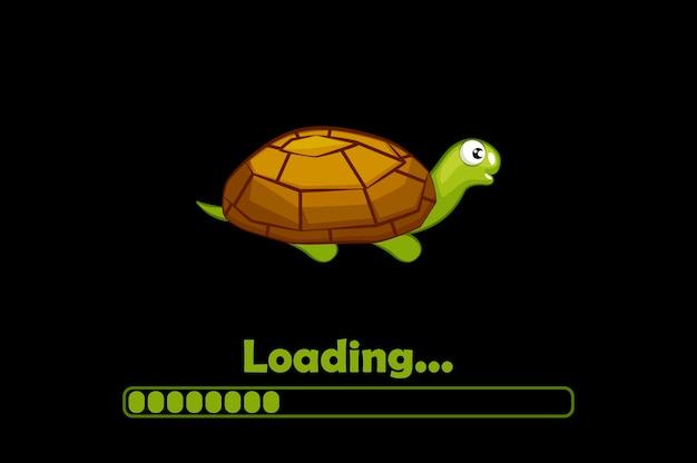 Kreskówka żółw i ikona ładowania interfejsu.
