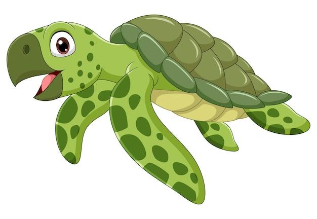Kreskówka żółw morski na białym tle