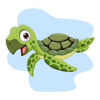 Kreskówka żółw morski pływanie w oceanie