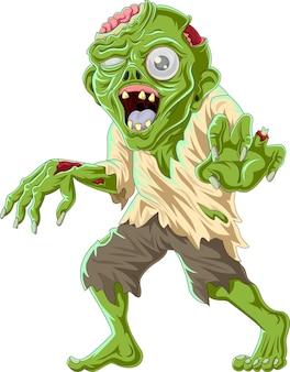 Kreskówka zombie na białym tle
