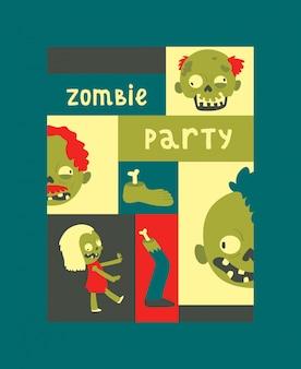Kreskówka zombie wzór halloween potwór straszny charakter chłopiec dziewczyna ilustracja straszne tło