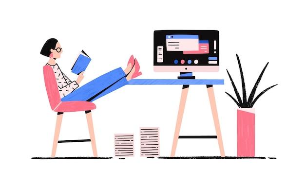 Kreskówka zrelaksowana kobieta czytająca książkę korzystających z przerwy płaska ilustracja