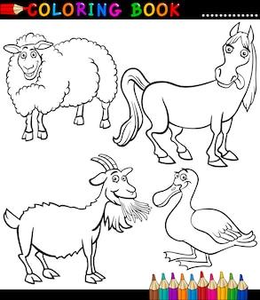 Kreskówka zwierząt gospodarskich do kolorowanka