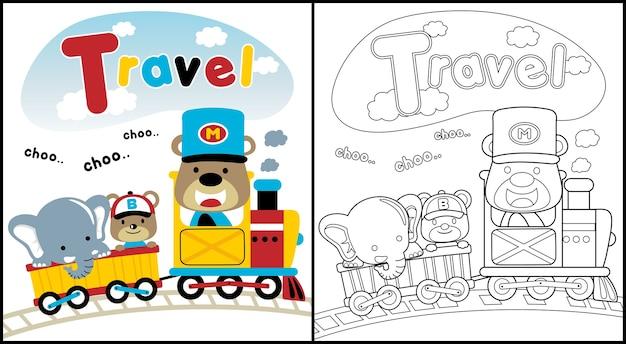Kreskówka zwierząt podróżujących pociągiem z węglem
