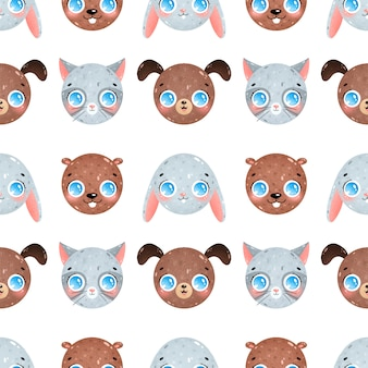 Kreskówka zwierząt twarze wzór. kot, pies, królik, bóbr wzór.