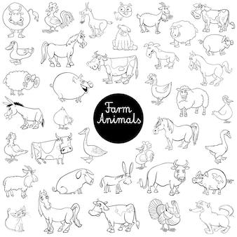 Kreskówka zwierzęta gospodarskie zestaw znaków kolor książki
