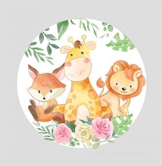 Kreskówka zwierzęta z kolorowymi kwiatami w ilustracji okręgu