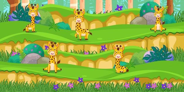 Kreskówka żyrafy w pięknym ogrodzie