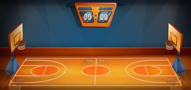 Kreskówki boisko do koszykówki z tablicą wyników, wektorowa ilustracja