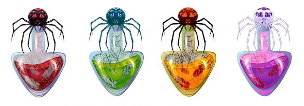 Kreskówki butelki z trucizną i pająkiem na nich