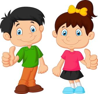 Kreskówki chłopiec i dziewczyna daje kciukowi up