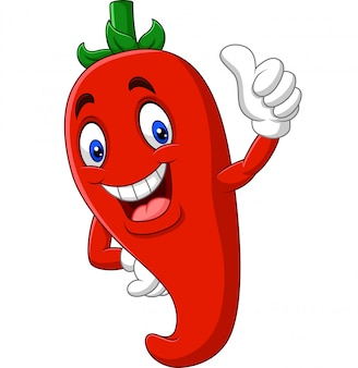 Kreskówki chili pieprz daje aprobatom