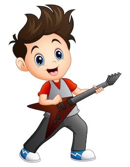 Kreskówki chłopiec bawić się gitarę elektryczną