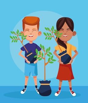 Kreskówki chłopiec i dziewczyna z roślinami, kolorowy projekt