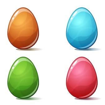 Kreskówki cztery koloru jajko na białym bckground.