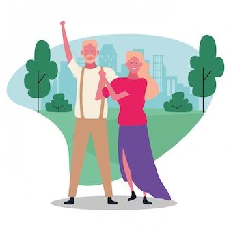 Kreskówki dorosła para, kolorowy projekt