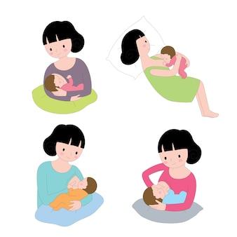 Kreskówki działań śliczna kobieta karmi jej dziecko wektoru set
