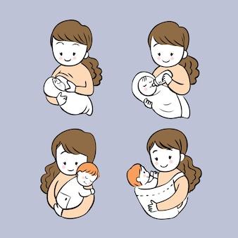 Kreskówki działań śliczna kobieta karmi jej dziecko wektoru set.