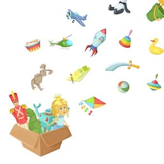 Kreskówki dzieci zabawki pudełkowata ilustracja