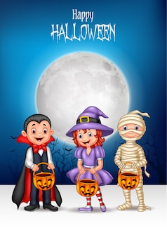 Kreskówki dzieciaki z halloweenowym kostiumowym mienie dyniowym koszem